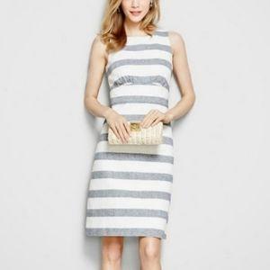 J. Crew Strip Basket Weave Linen Sheath Dress